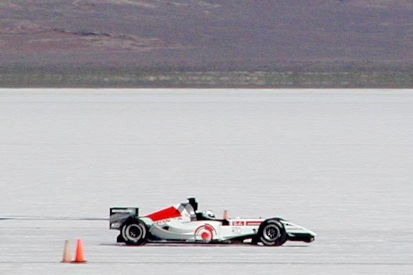The BAR Formula 1 racecar warming up at the Bonneville Salt Flats.