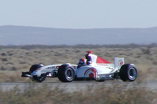The BAR Formula 1 car at Mojave Airport.
