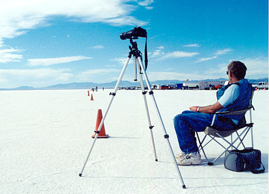 Phil Rice waiting for the next run, 2001 World Finals, Bonneville Salt Flats.